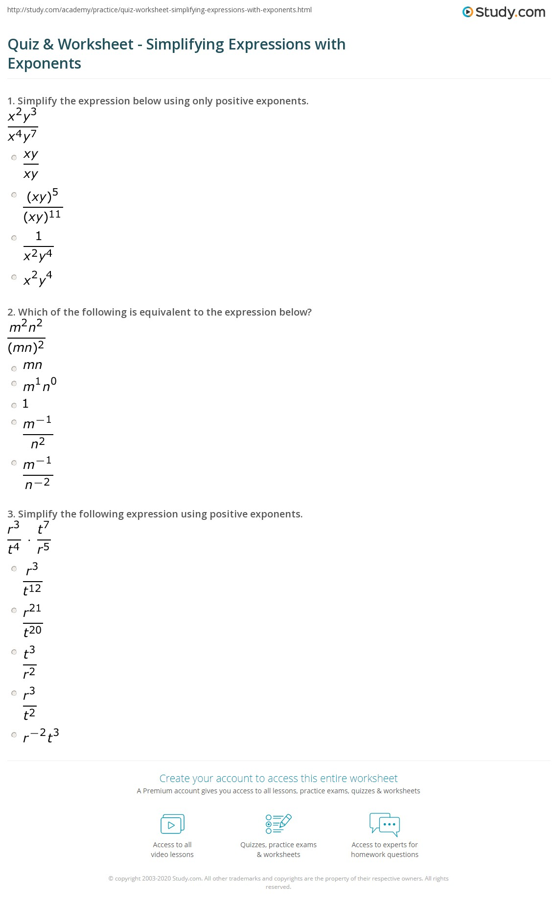 Worksheet On Simplifying Rational Exponents