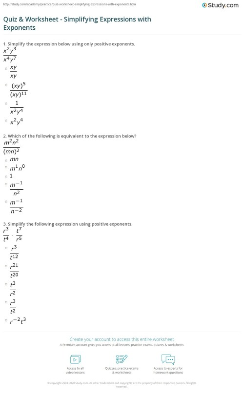 small resolution of Practice Worksheet For Law Of Exponents Answers - Worksheet List