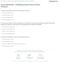 Quiz & Worksheet - Simplifying Square Roots Practice ...