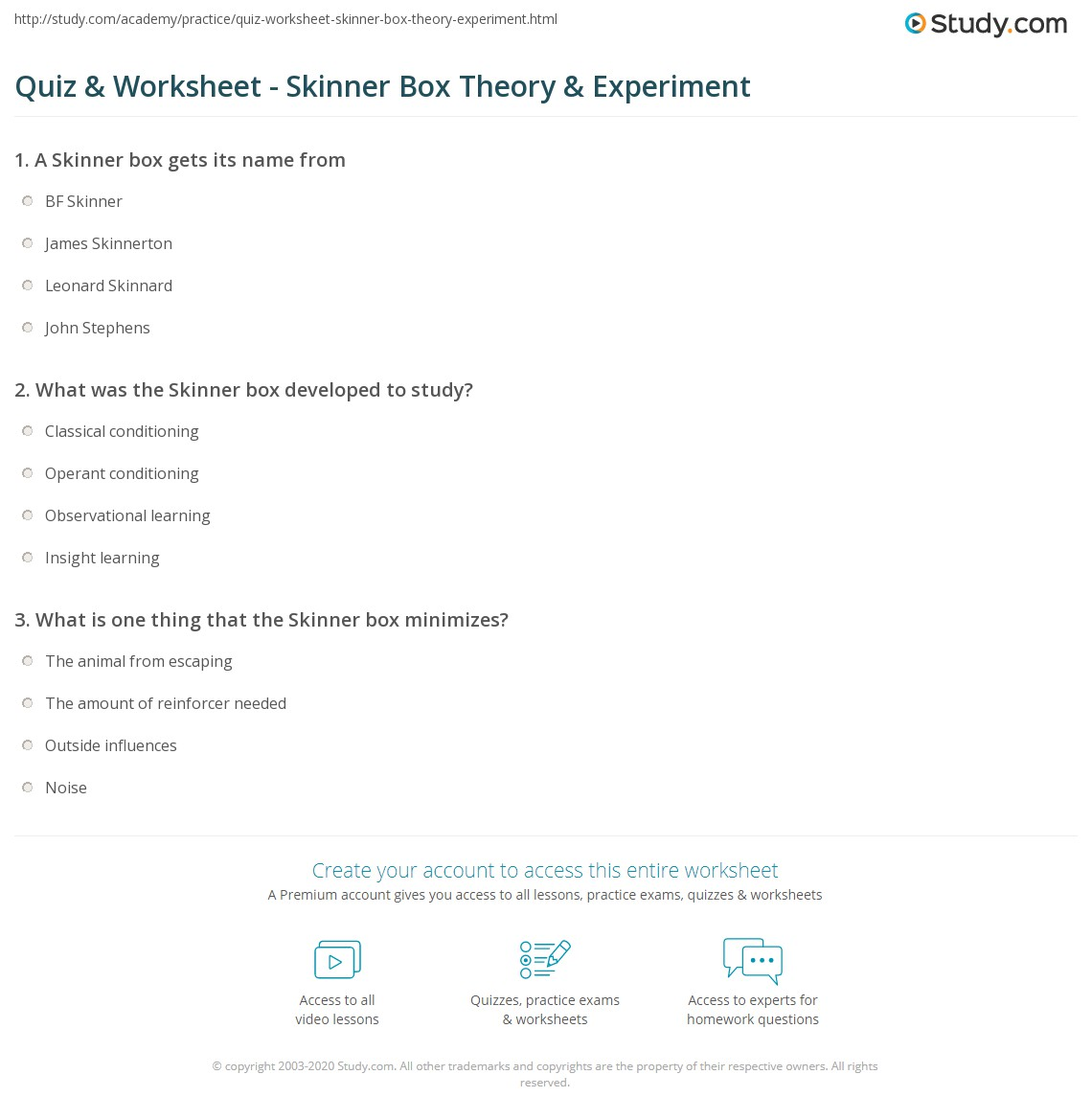 Operant Conditioning Worksheet With Answers