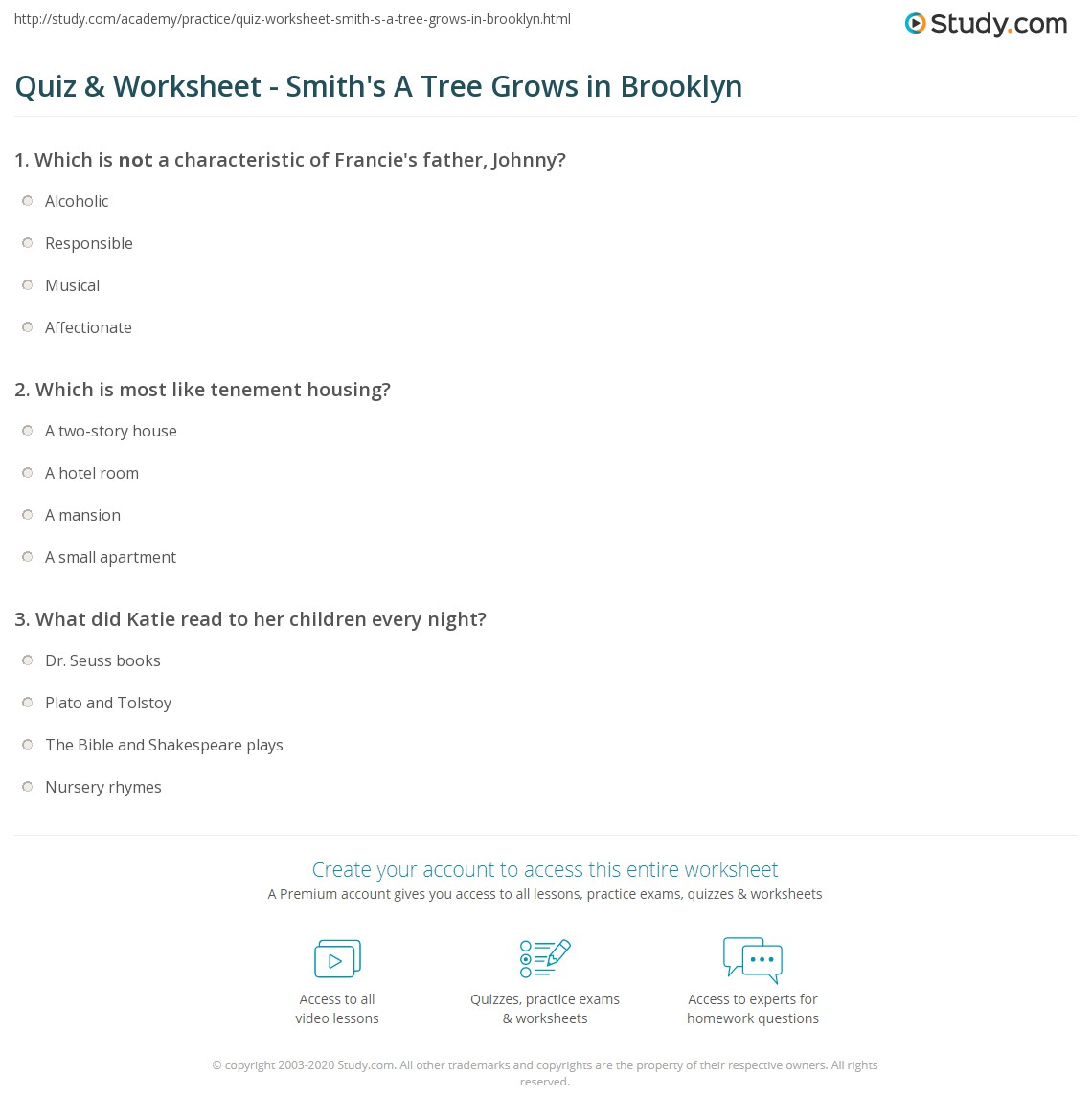 hight resolution of print a tree grows in brooklyn by betty smith summary analysis worksheet