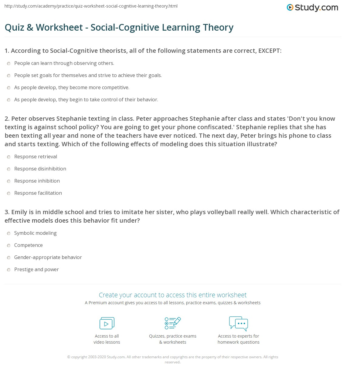 Psychology Critical Thinking Quiz