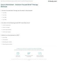 Quiz & Worksheet - Solution-Focused Brief Therapy Methods ...