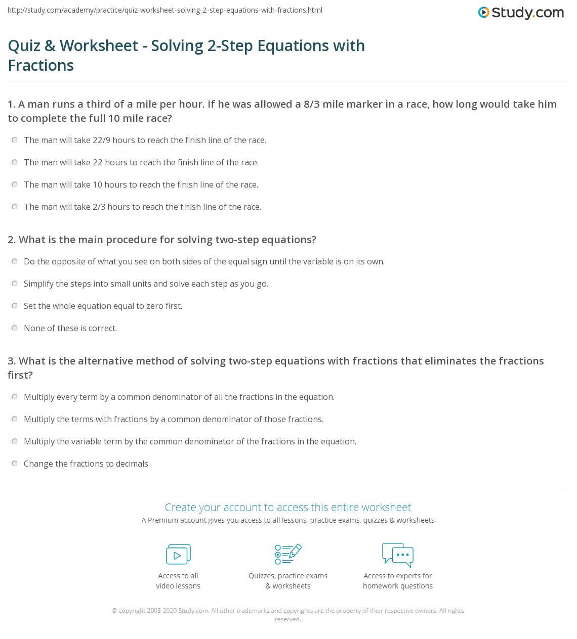 Linear Equations With Fractions Worksheet