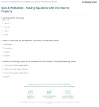 Quiz & Worksheet - Solving Equations with Distributive ...