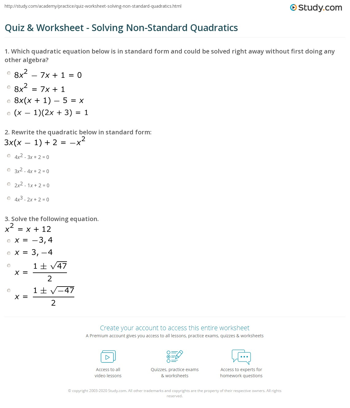 Quadratic Equations Vertex Form To Standard Form Worksheet
