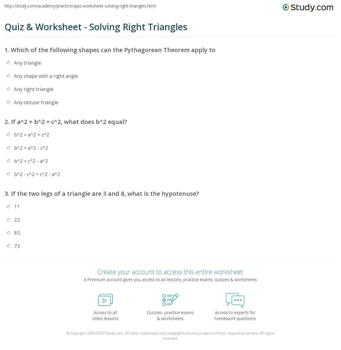 33 Solve Right Triangles Worksheet