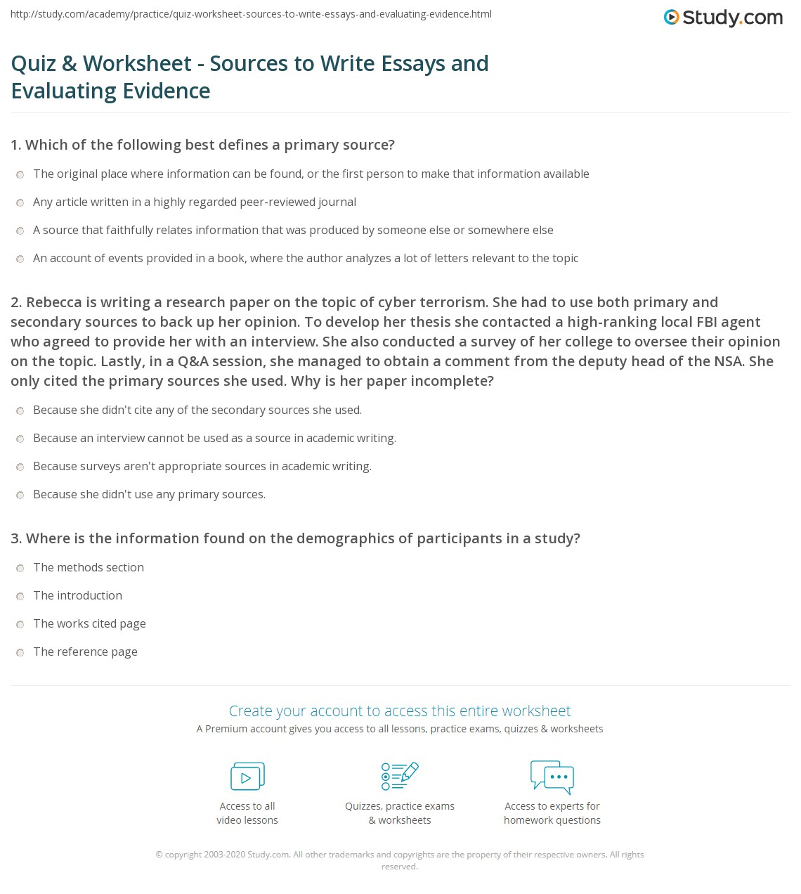 Quiz & Worksheet Sources To Write Essays And Evaluating Evidence
