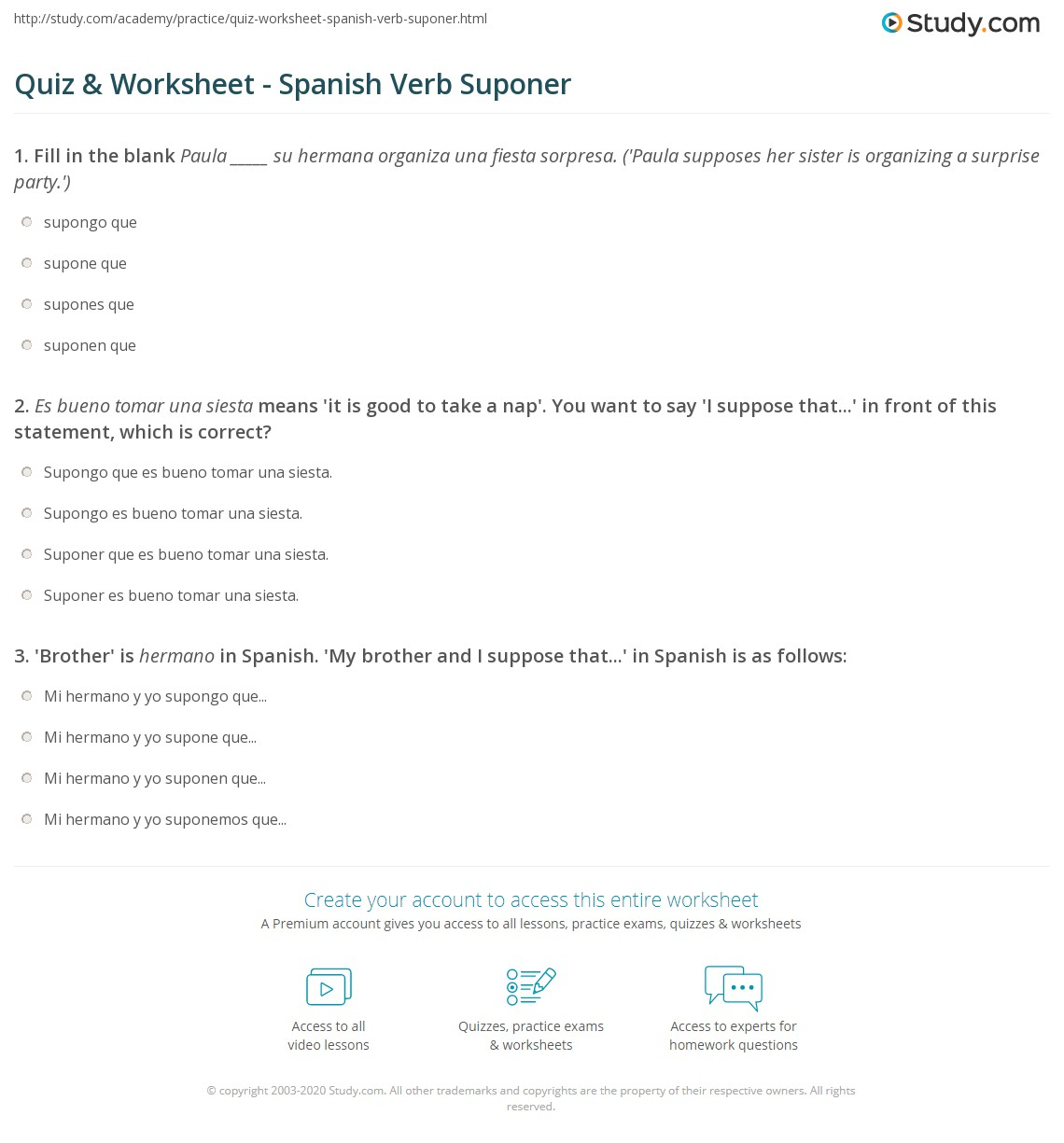 Quiz W Ksheet Sp Nish Verb Sup Er Study