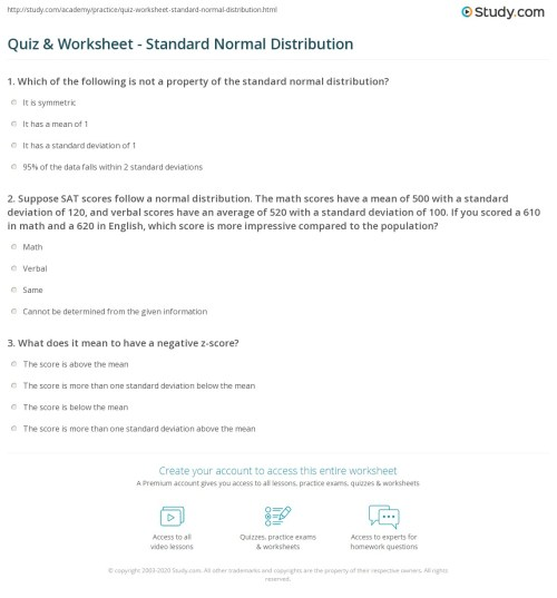small resolution of Z Score Practice Worksheet Answers - Worksheet List
