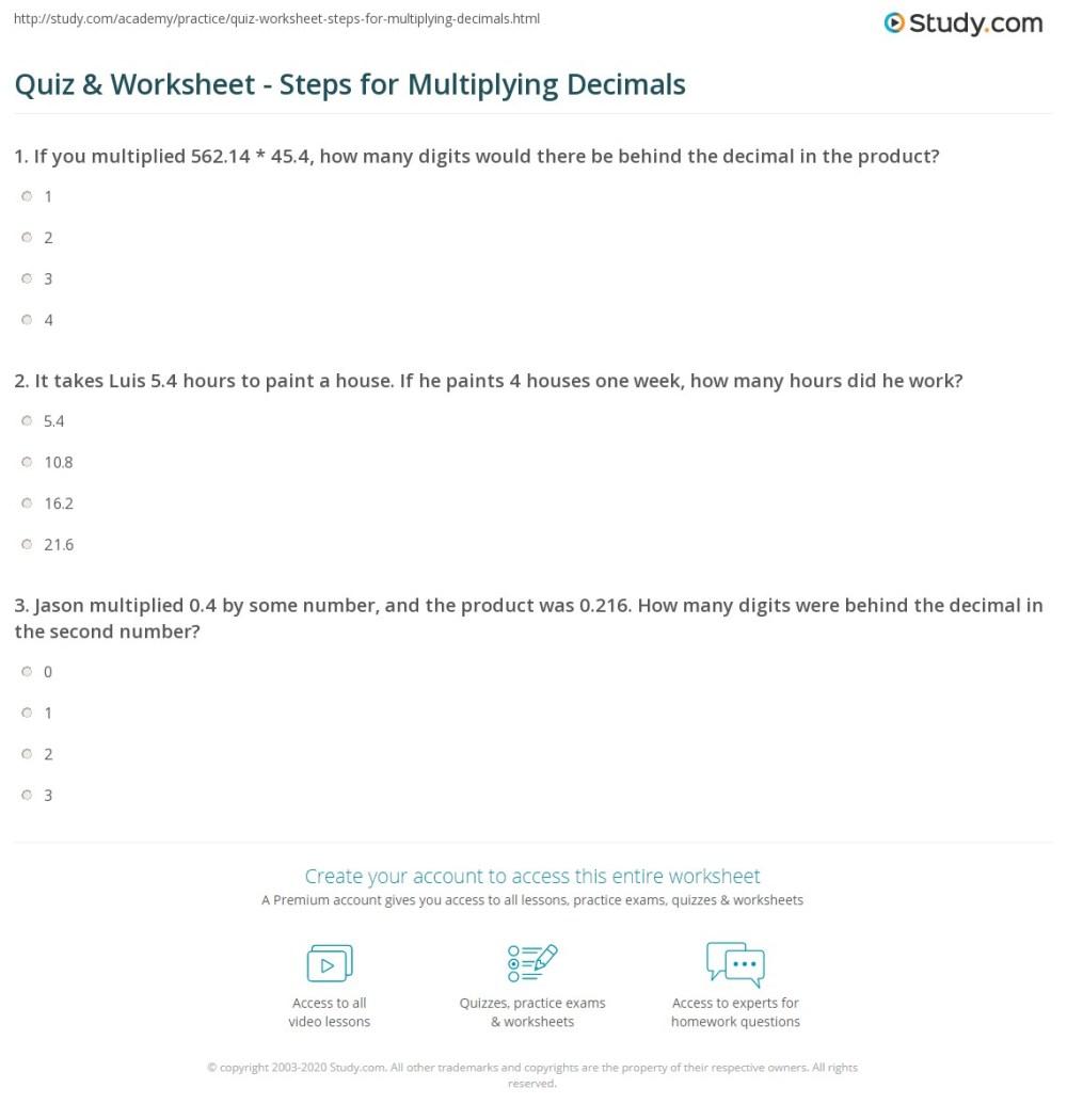 medium resolution of Quiz \u0026 Worksheet - Steps for Multiplying Decimals   Study.com