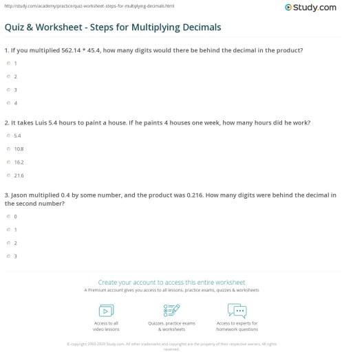 small resolution of Quiz \u0026 Worksheet - Steps for Multiplying Decimals   Study.com