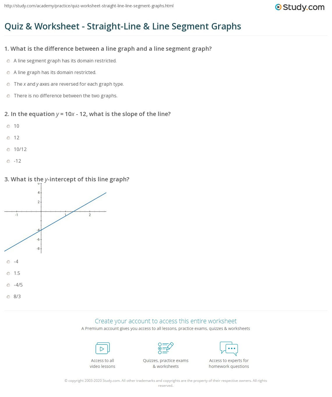 Straight Line Graph Equations Worksheet