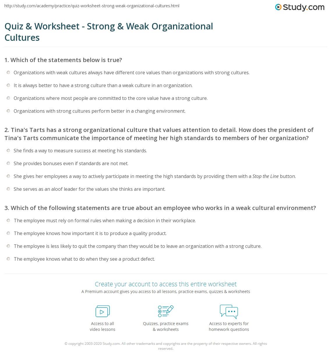Organizational Worksheet