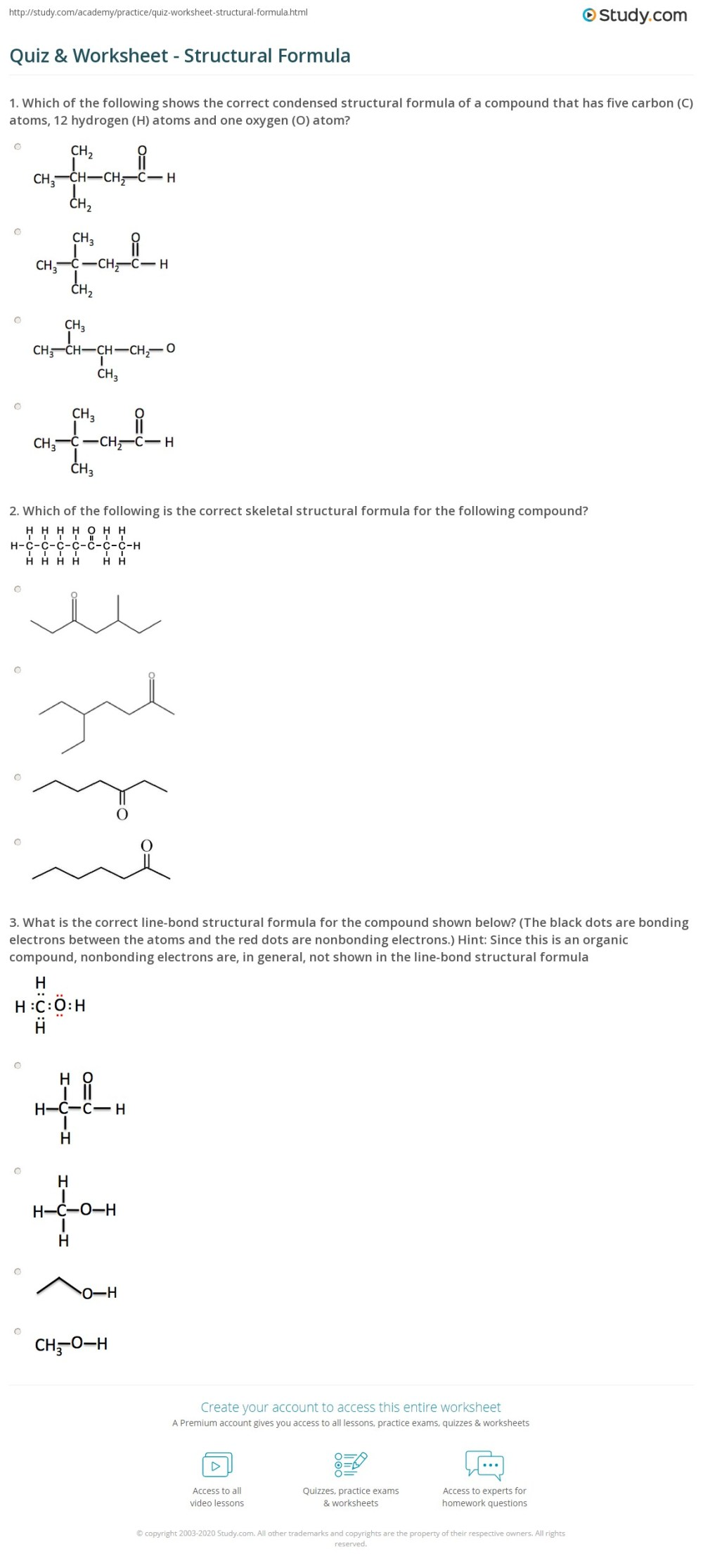 medium resolution of Quiz \u0026 Worksheet - Structural Formula   Study.com