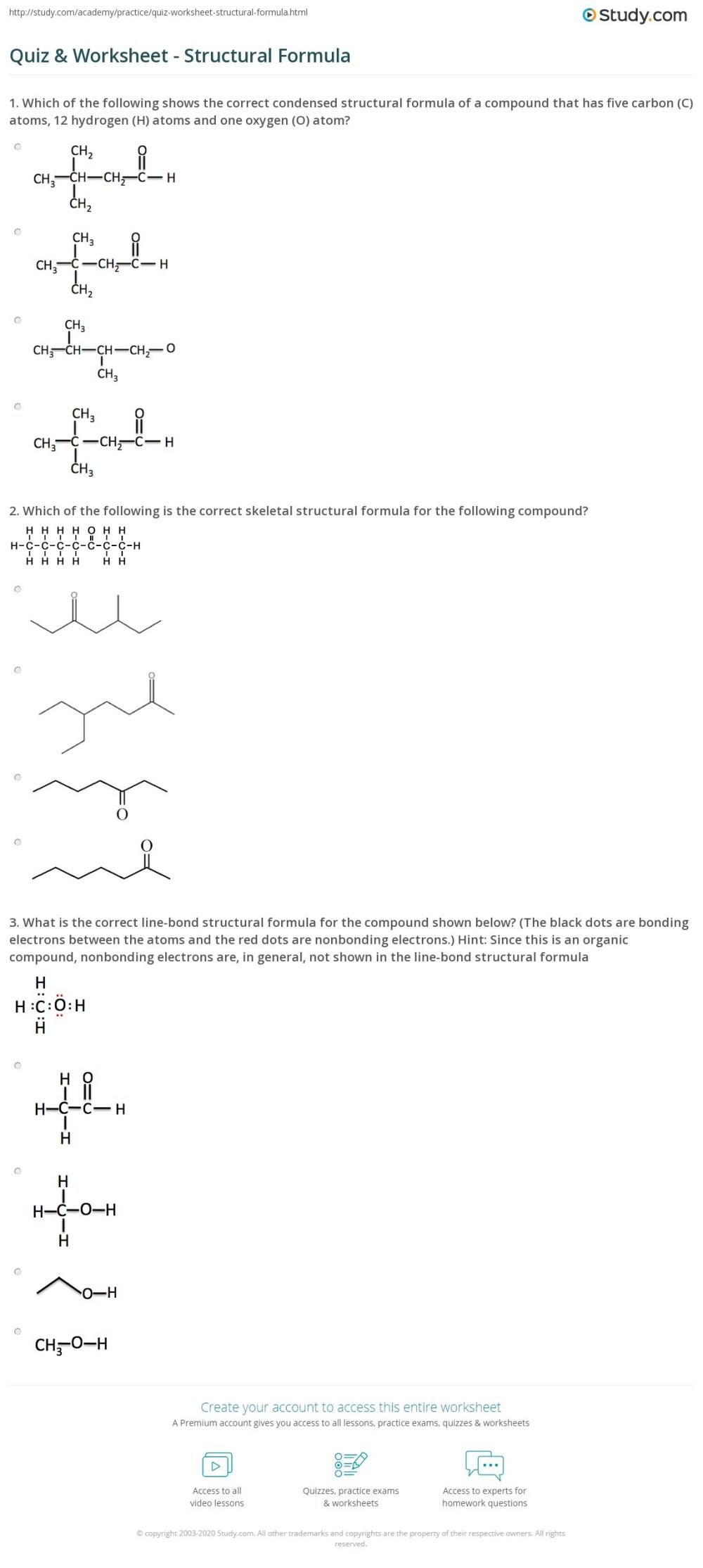 medium resolution of Quiz \u0026 Worksheet - Structural Formula   Study.com