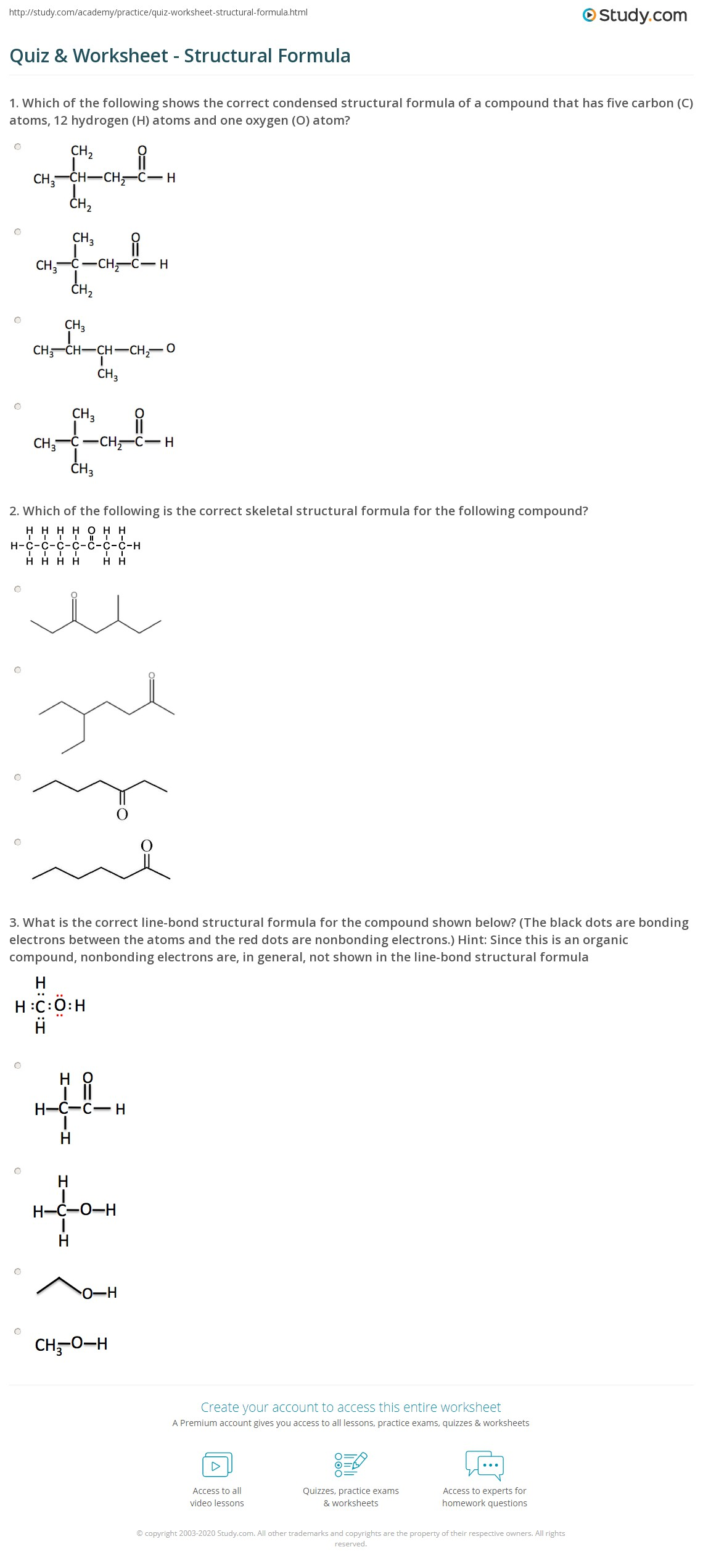 hight resolution of Quiz \u0026 Worksheet - Structural Formula   Study.com