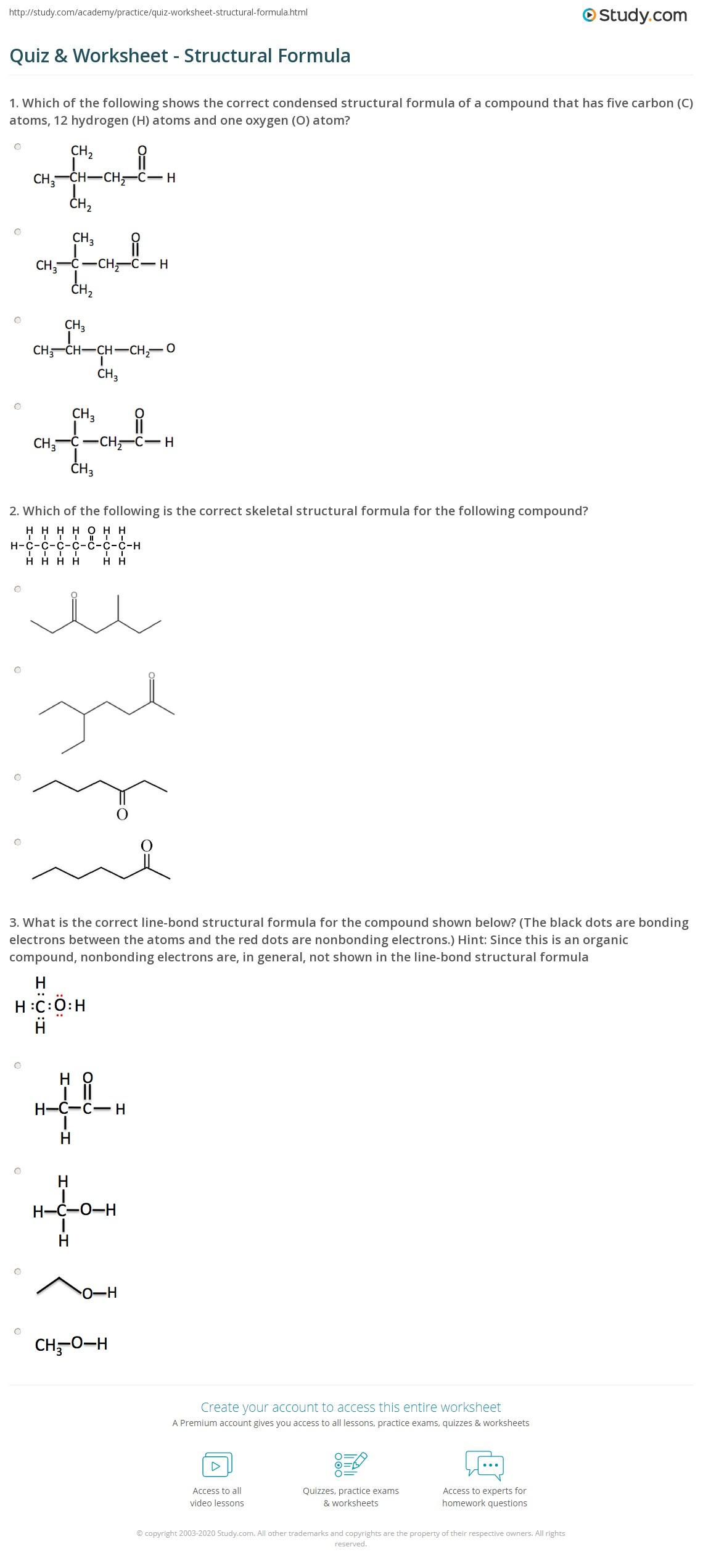 hight resolution of Quiz \u0026 Worksheet - Structural Formula   Study.com