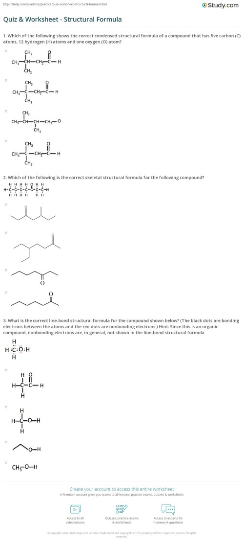 small resolution of Quiz \u0026 Worksheet - Structural Formula   Study.com