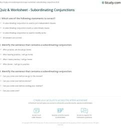 Quiz \u0026 Worksheet - Subordinating Conjunctions   Study.com [ 1169 x 1140 Pixel ]