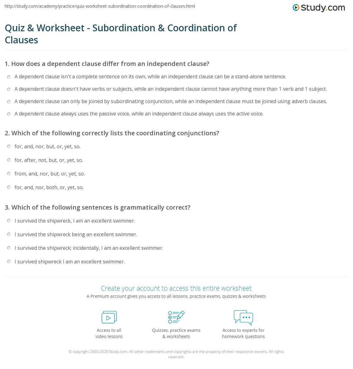 Subordinate Clause Worksheet Year 4