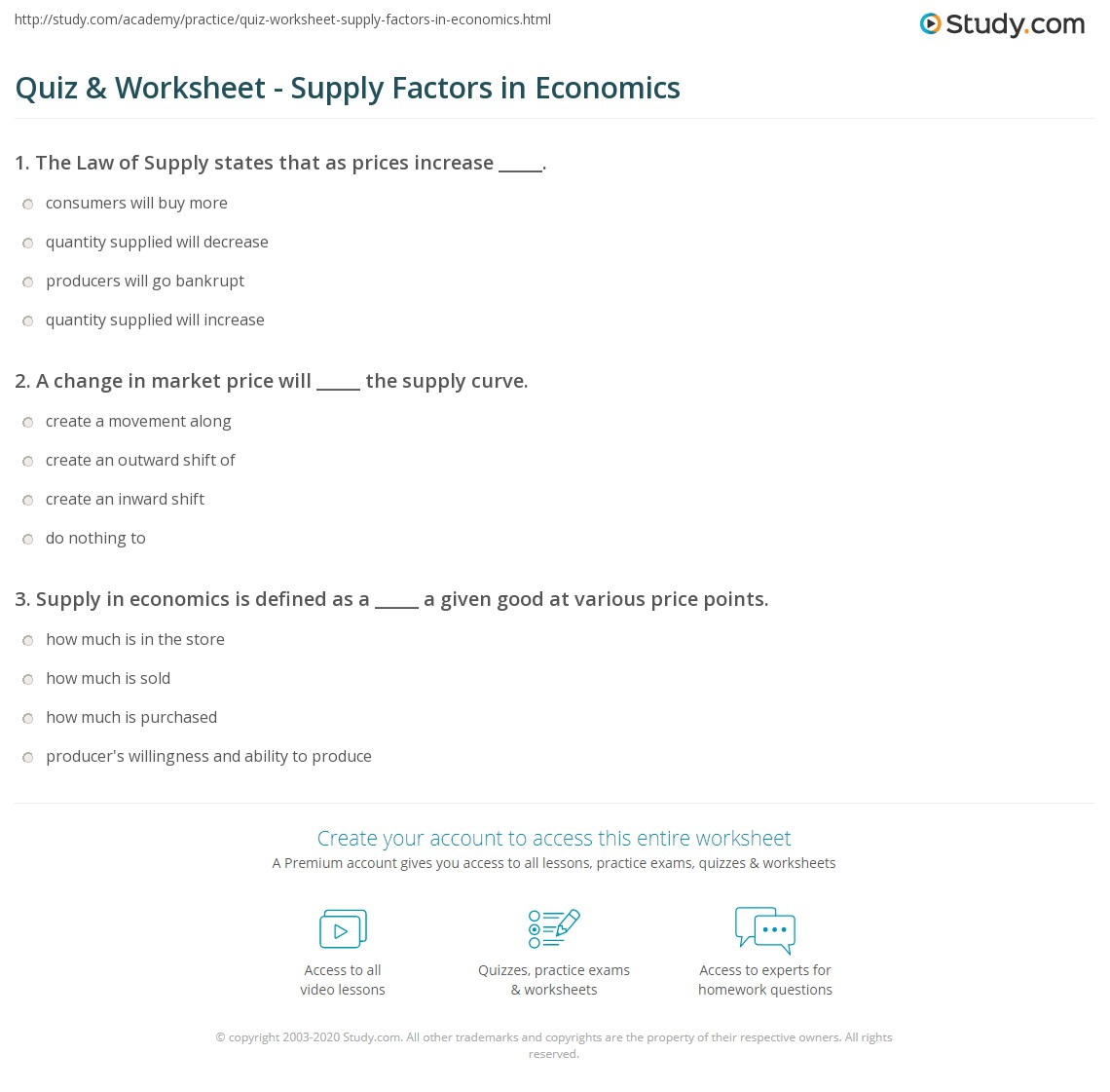Econ Supply Curve Worksheet Answers