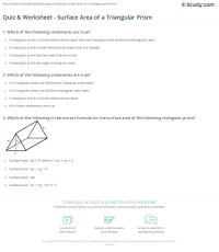 Quiz & Worksheet - Surface Area of a Triangular Prism ...
