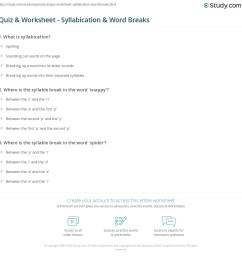 Quiz \u0026 Worksheet - Syllabication \u0026 Word Breaks   Study.com [ 1169 x 1140 Pixel ]