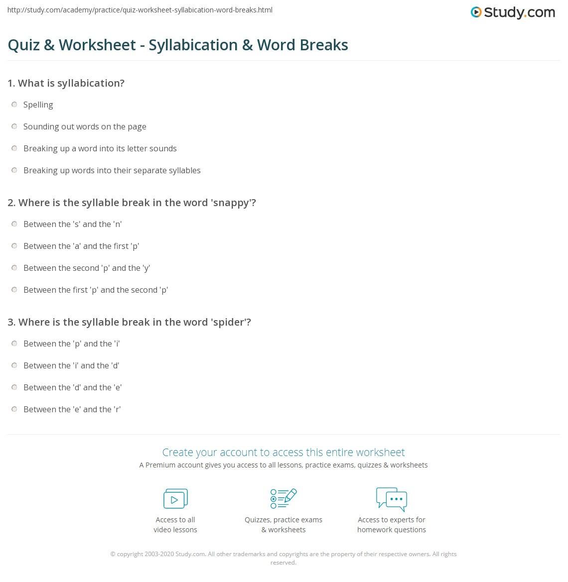 hight resolution of Quiz \u0026 Worksheet - Syllabication \u0026 Word Breaks   Study.com