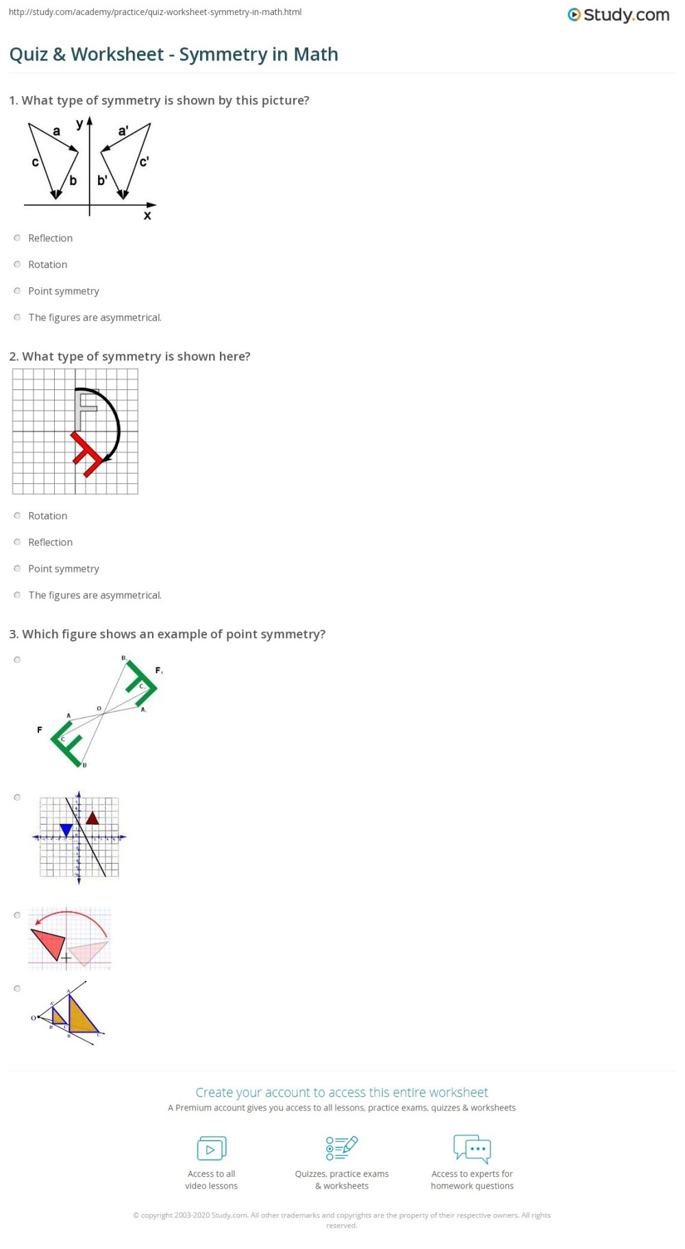 medium resolution of Quiz \u0026 Worksheet - Symmetry in Math   Study.com