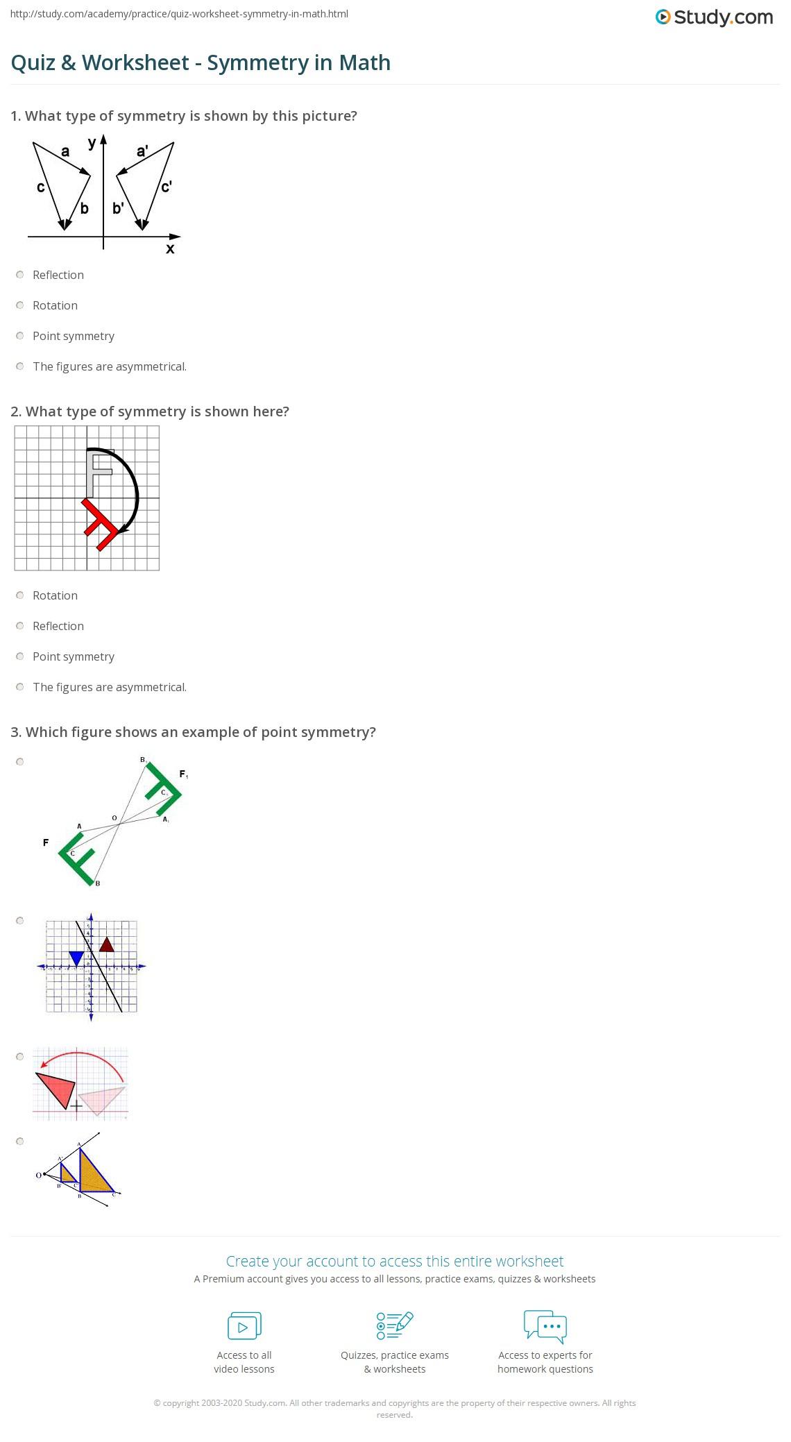 hight resolution of Quiz \u0026 Worksheet - Symmetry in Math   Study.com