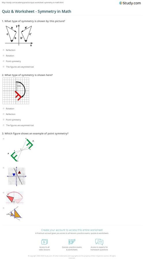 small resolution of Quiz \u0026 Worksheet - Symmetry in Math   Study.com