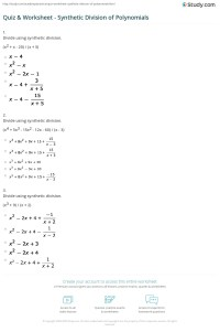Quiz & Worksheet - Synthetic Division of Polynomials ...