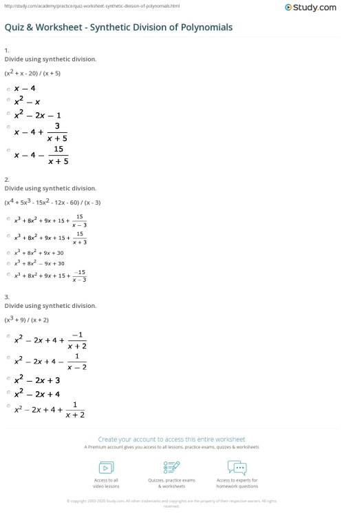 small resolution of 34 Dividing Polynomials Worksheet With Answers - Worksheet Resource Plans