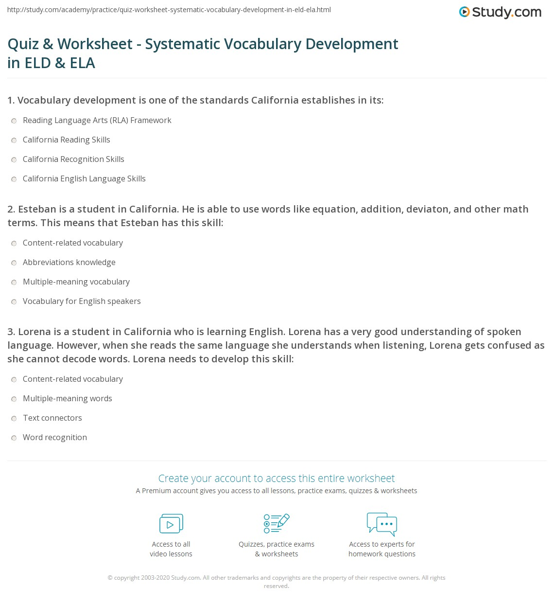 Skills Worksheet Vocabulary Review