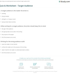 Quiz \u0026 Worksheet - Target Audience   Study.com [ 1169 x 1140 Pixel ]