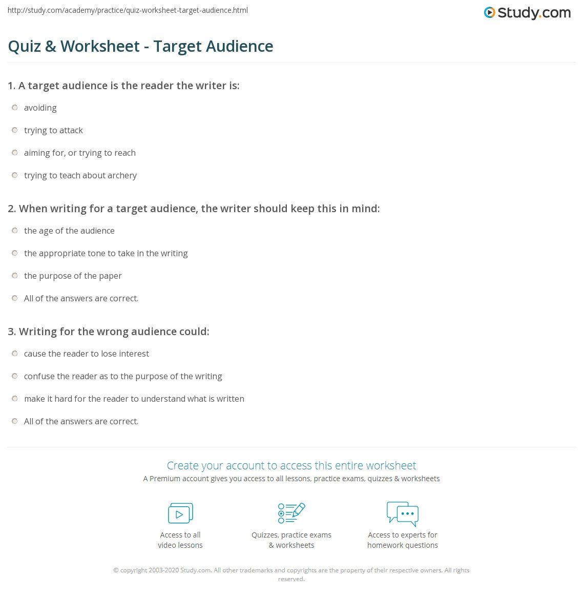 hight resolution of Quiz \u0026 Worksheet - Target Audience   Study.com