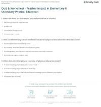 Quiz & Worksheet - Teacher Impact in Elementary ...