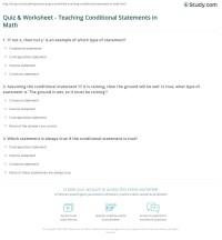 Quiz & Worksheet - Teaching Conditional Statements in Math ...
