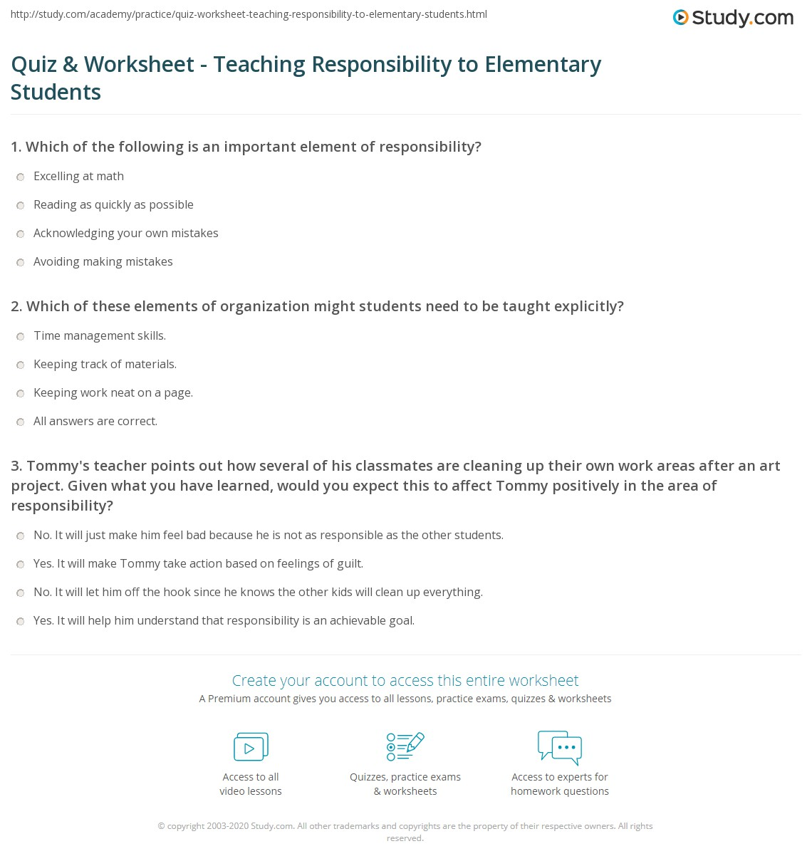 Worksheet For Teaching Responsibility