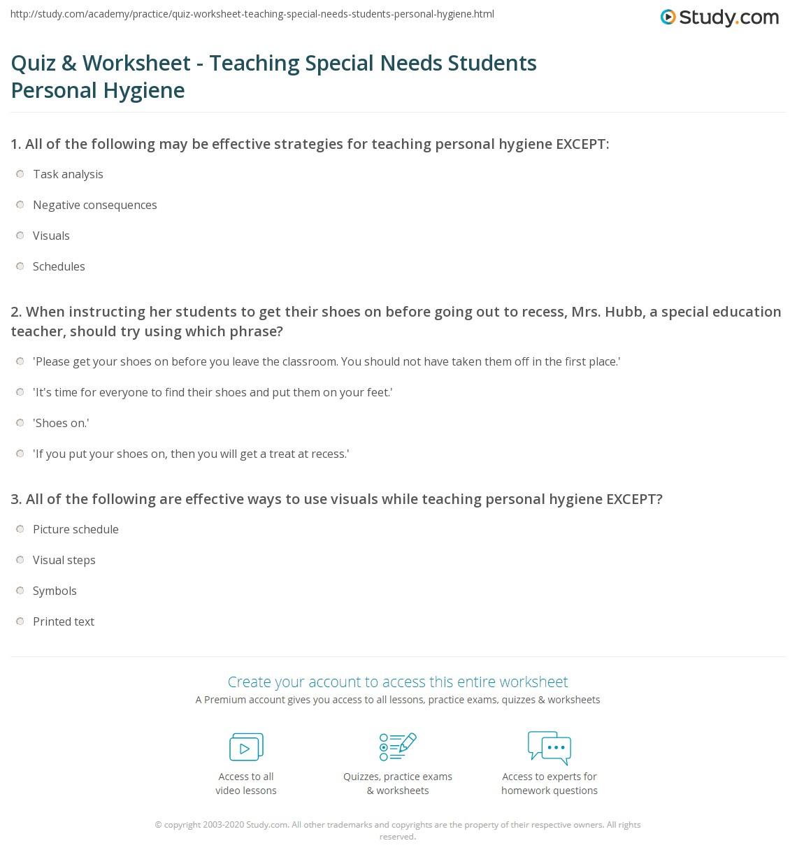Special Needs Hygiene Worksheet