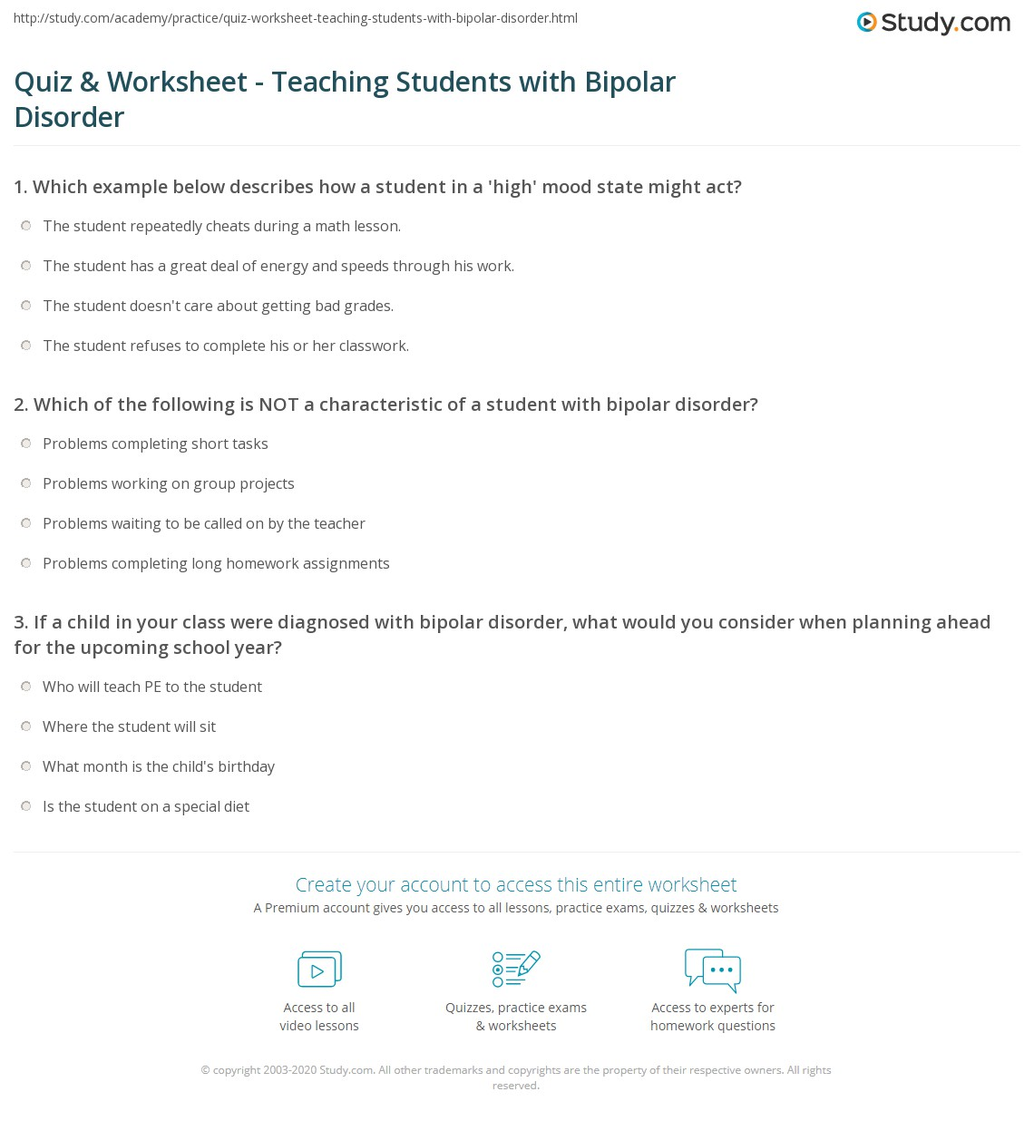Worksheets For Bipolar Disorder