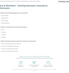 Quiz \u0026 Worksheet - Teaching Synonyms [ 1160 x 1140 Pixel ]