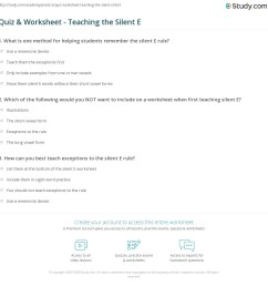 Quiz \u0026 Worksheet - Teaching the Silent E   Study.com [ 1169 x 1140 Pixel ]