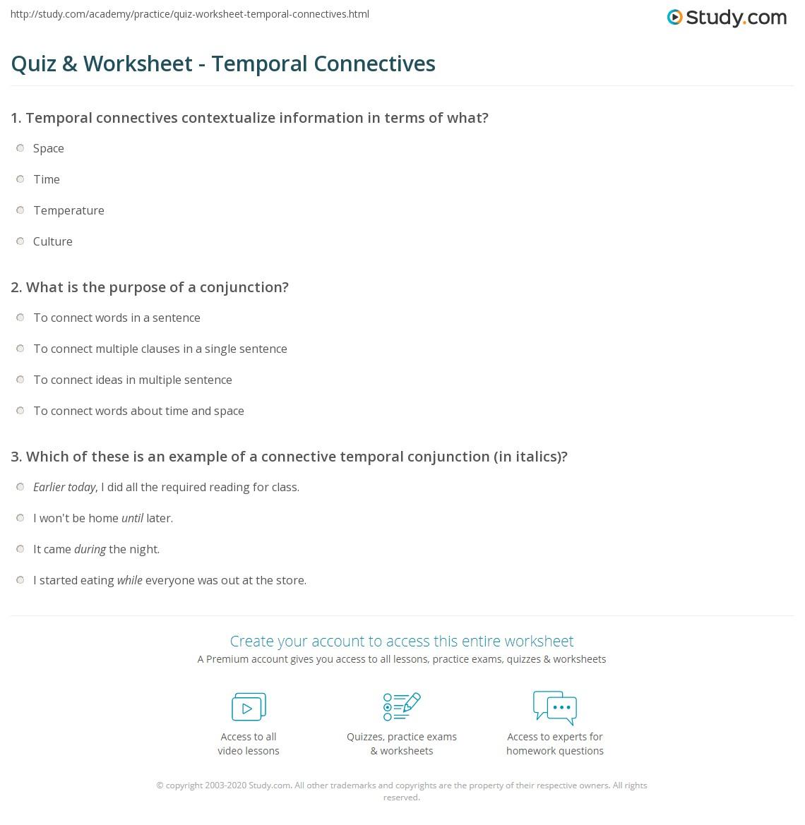 hight resolution of Quiz \u0026 Worksheet - Temporal Connectives   Study.com
