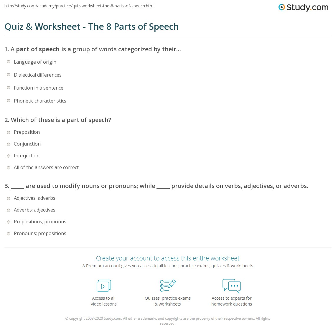 Worksheets Identifying Parts Of Speech Worksheet