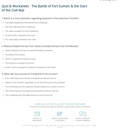 Quiz \u0026 Worksheet - The Battle of Fort Sumter \u0026 the Start of the Civil War    Study.com [ 1280 x 1140 Pixel ]