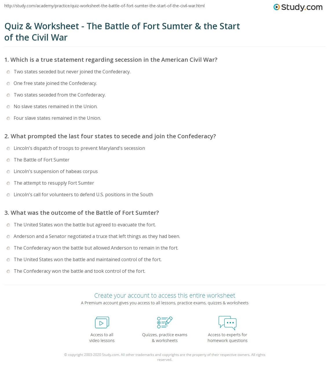 hight resolution of Quiz \u0026 Worksheet - The Battle of Fort Sumter \u0026 the Start of the Civil War    Study.com