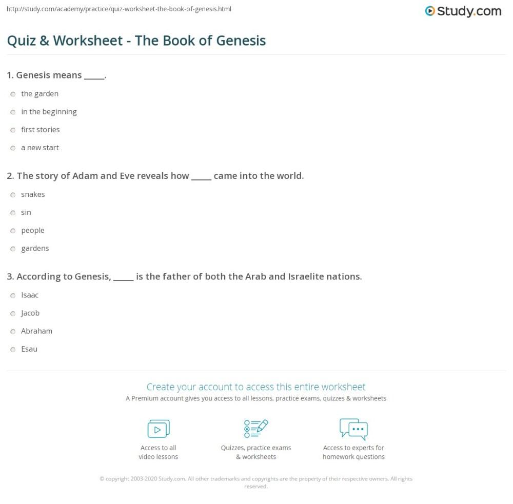 medium resolution of Quiz \u0026 Worksheet - The Book of Genesis   Study.com