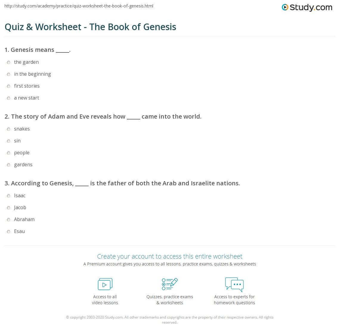 hight resolution of Quiz \u0026 Worksheet - The Book of Genesis   Study.com